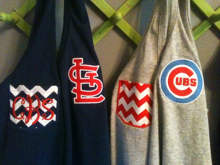 Monogrammed Sports Team Racerback tanks- St Louis Cardinals or Chicag…