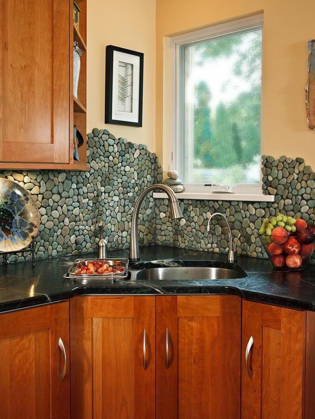 river rock tile backsplash house pinterest