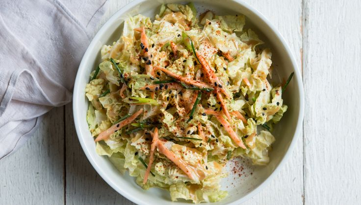 Creamy Miso Slaw - Bon Appétit. Can easily be made #vegan by subbing ...