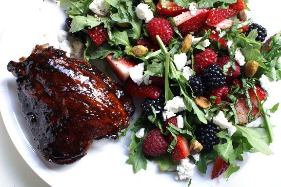 pomegranate molasses-glazed chicken thighs + tangled arugula and ...