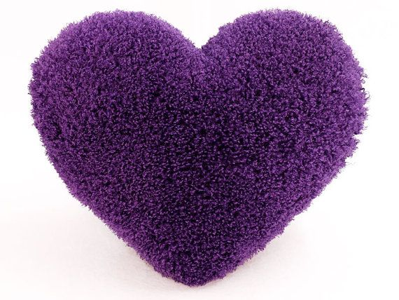 Curly Shag Purple Heart Shaped Decorative Toss Pillow - Small Size