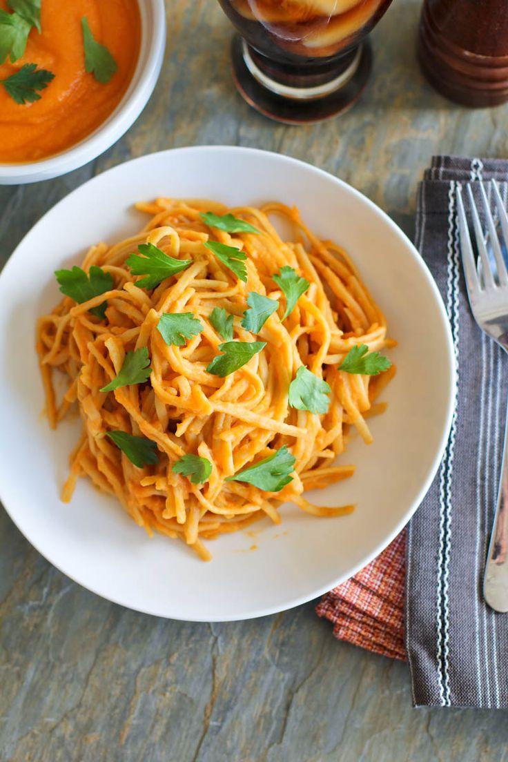 Creamy Cauliflower and Roasted Red Pepper Linguine | Recipe