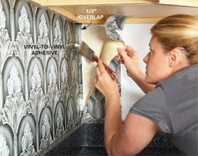 Easy low cost wall paper back splash