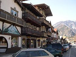 Leavenworth, Washington.  The entire town center is modelled on a Bavarian village.