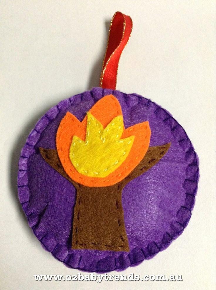 Jesse Tree felt Christmas ornament - Burning Bush, symbol of Moses # ...
