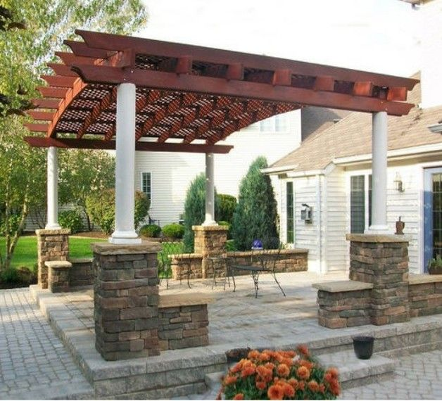 Redwood pergola exterior wood structures pinterest for Pergola designs
