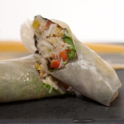 ... Bistro, Denver--Chili Crab Rolls, Charred Corn Salad, Sriracha Mayo