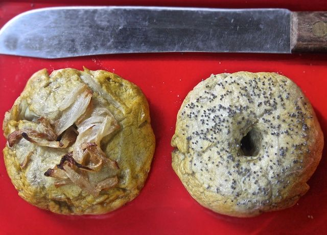 Gluten free bagels (with egg replacer instead of eggs).