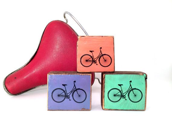 Stackable blocks: Mini orange and purple and mint green bicycle blocks ...
