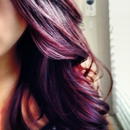 Brown Hair Purple Tint Dark purple in brown hair