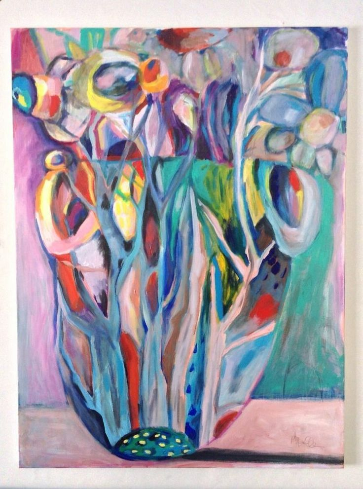 Abstract flowers in vase new large acrylic painting house for Painting large flowers in acrylic