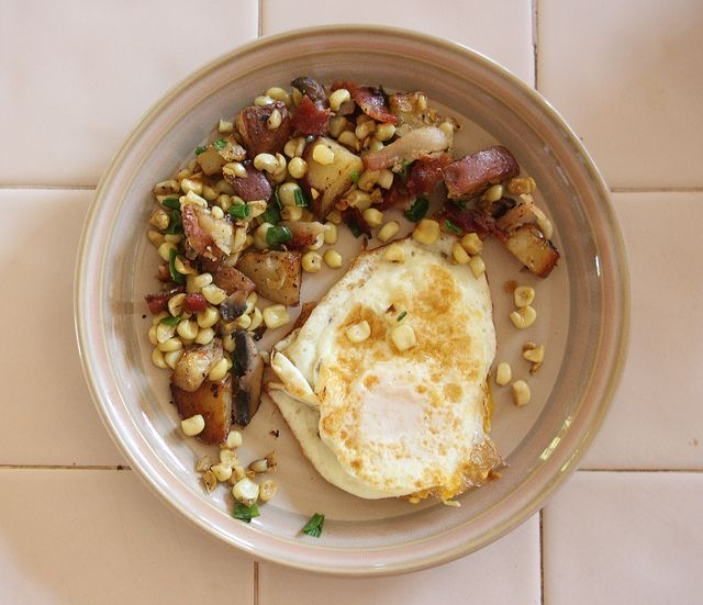 Bacon, Corn, Mushroom Hash | Good Eats | Pinterest