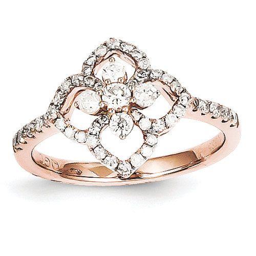 Unique Diamond Halo Antique Vintage Engagement Fashion Ring 14K Rose
