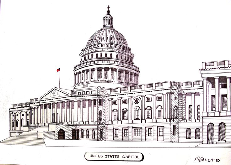 Ink Drawing By Frederic Kohli Of The United States Capitol Building