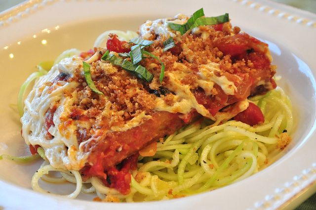 Tofu Parmesan with Zucchini Noodles. umm - yum! if you haven't tried ...