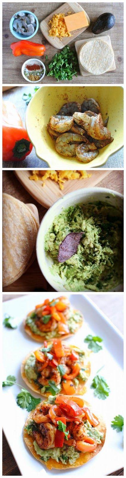 Simple Shrimp and Guacamole Tostadas | Recipes - mexican | Pinterest