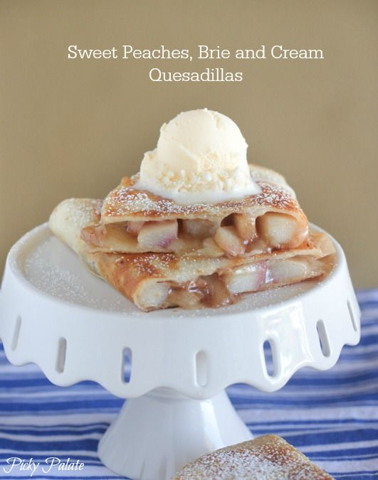 Sweet Peaches Brie and Cream Quesadillas, sweet and buttery crisp!