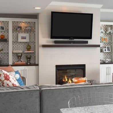 Wall Paper Behind Shelves Home Design Inspiration
