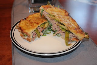 Ham asparagus panini with garlic pepper mayo