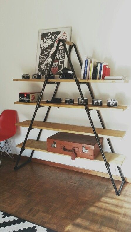 pipe bookshelf industrial pipe and industrial on pinterest. Black Bedroom Furniture Sets. Home Design Ideas