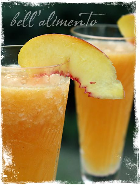 Frozen Peach Bellini. Crush ice first while microwaving frozen peaches ...