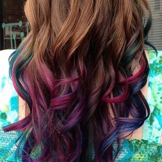 ... brown hair   Purple pink green blue highlights in brown hair