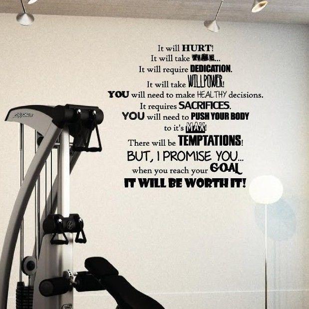 Fitness Goals Motivation Gym It will Hurt worth it decal vinyl wall ...