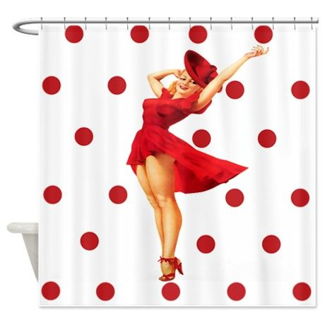 Red polka dot pinup shower curtain diy amp crafts that i love pinte