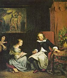 Milton Dictates the Lost Paradise to His Three Daughters, ca. 1826.  Artist:  Eugene Delacroix