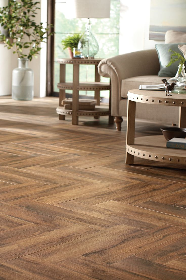 Herringbone wood tile floor