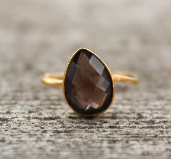SALE  Gold Smokey Quartz Ring  Teardrop  Stacking Ring by OhKuol