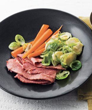 -Braised Corned Beef with Tarragon/Mustard/SourCream sauce, Brussels ...