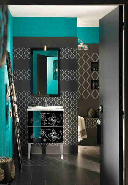 Grey and turquoise bathroom colours half bath ideas for Turquoise and gray bathroom accessories