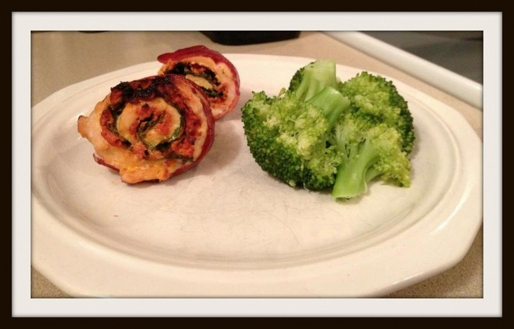 Chicken Bacon Roll-ups with Spinach and Tomato/Basil Goat Cheese ...