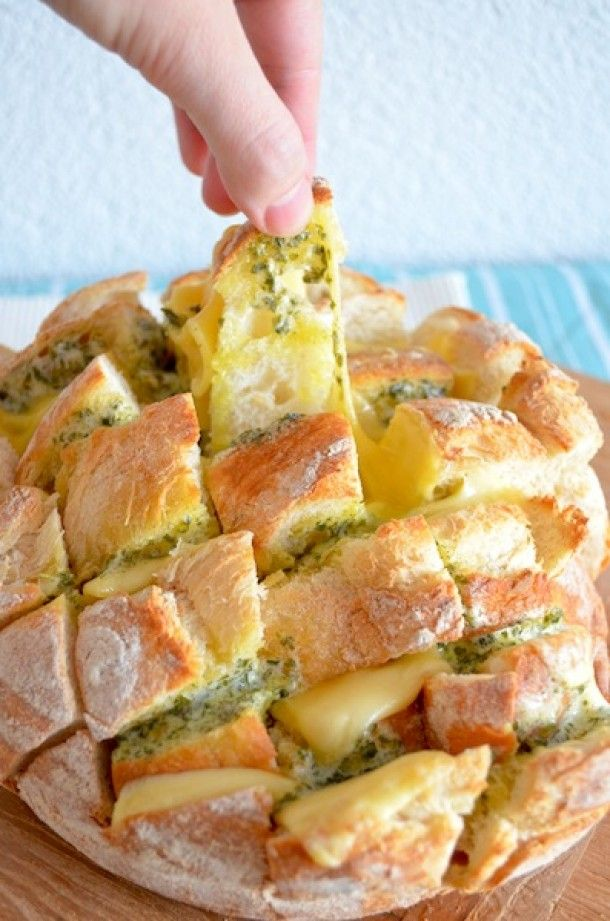 Tear-and-Share Pesto Bread with Melted Brie Recipe