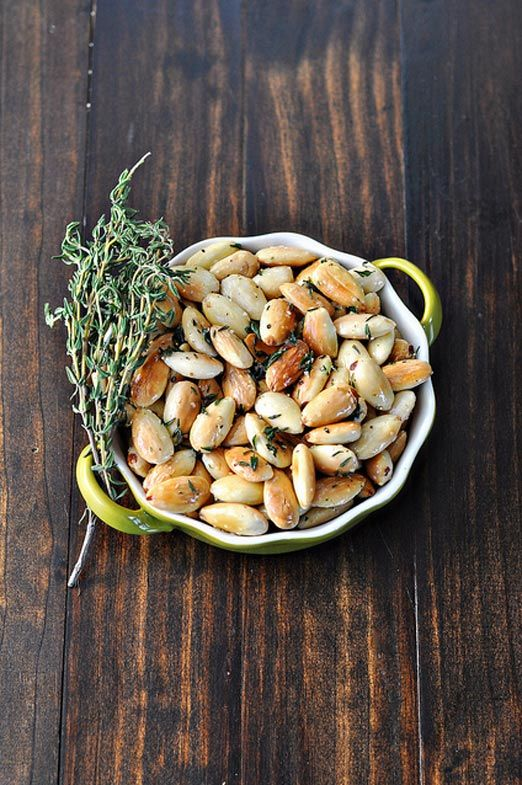 fried herbed almonds | 2 tablespoons extra-virgin olive oil, 2 cups ...