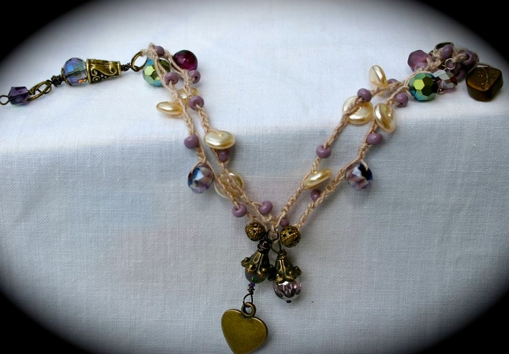Crochet Bracelet, Amethyst, Lavender, Pearl, Heart Charm, Filigree