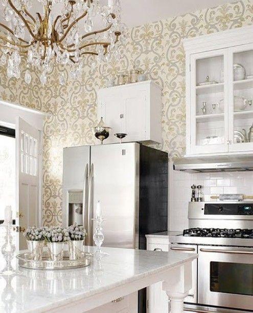 White Kitchen, Vintage Chandelier
