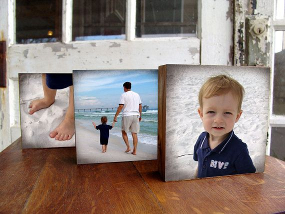 photos on wood blocks. i think i could totally make this!