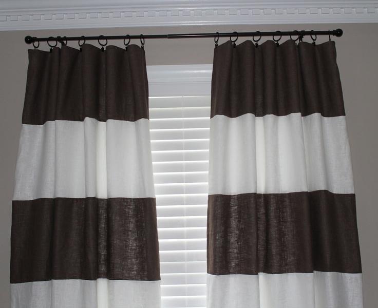 custom horizontal striped curtain panels