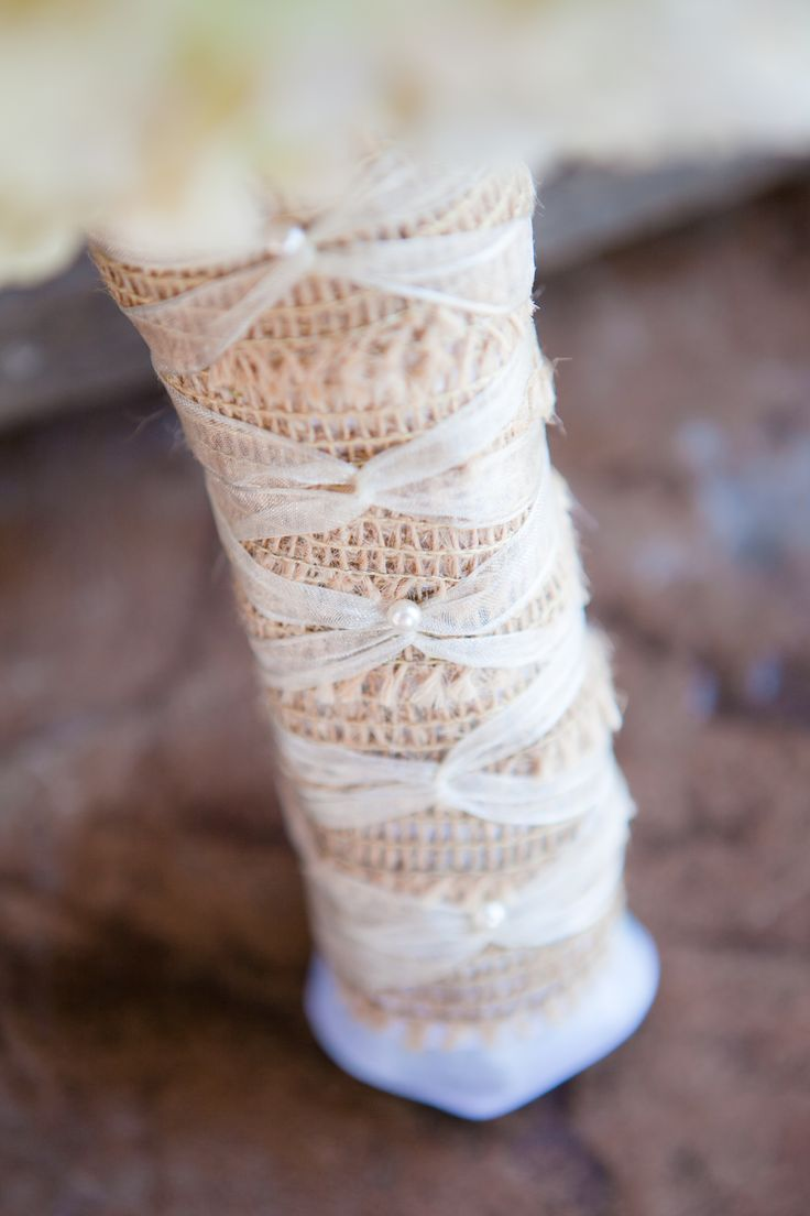 How To Wrap Bridal Bouquet With Ribbon : Bridal bouquet burlap and ribbon wrap accents flowers
