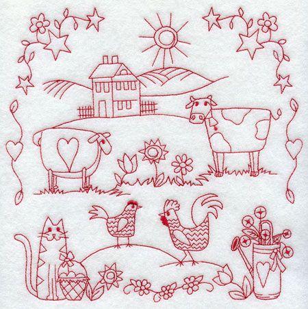 machine embroidery redwork