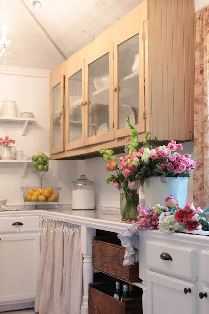 FRENCH COUNTRY COTTAGE: Antique Kitchen Cupboard in the little cottage