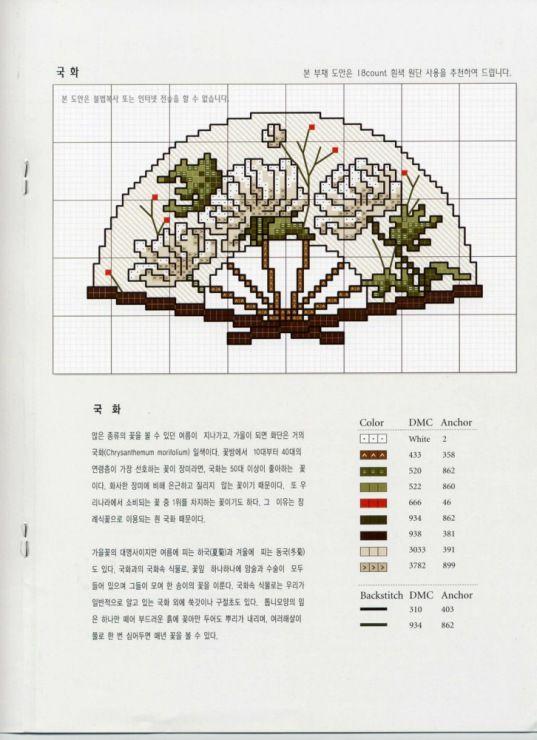 Схемы вышивки крестом вееров 719