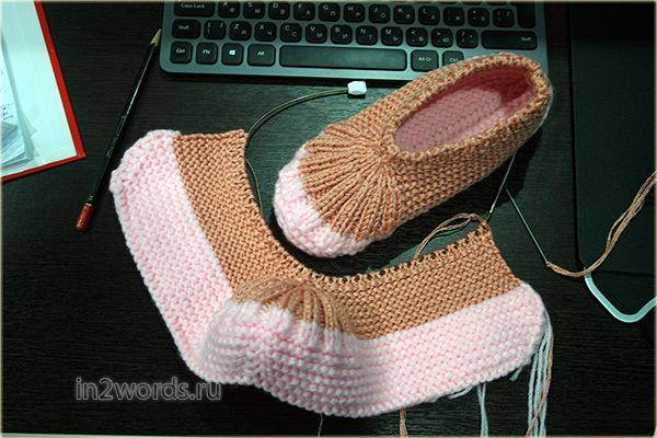 Вязание тапочек-следок на 2 спицах