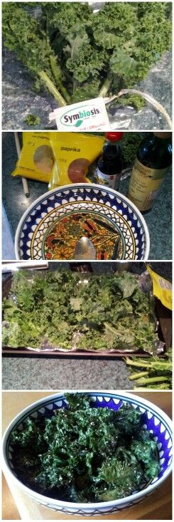 Kale chips : sesame oil, olive oil, paprika, salt, sesame seeds. Bake ...