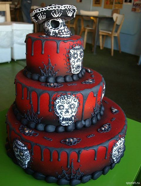 Anniversary cake for me?!  I love it! It's under Halloween cakes, though it's actually day of the dead.  Close enough, I guess.