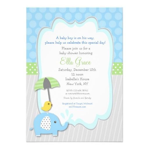 elephant baby shower invitations boy