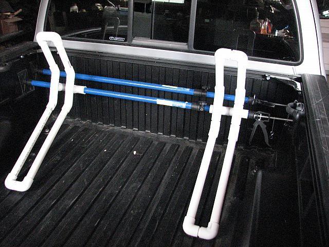 Pvc bike rack for pickup truck
