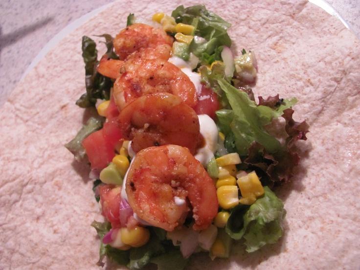 Shrimp Tacos with Roasted Corn and Avocado Salsa